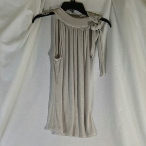 Silver Sleeveless top with Tie shoulder Large NWOT
